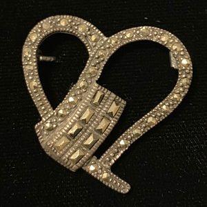 Vintage heart shaped pin